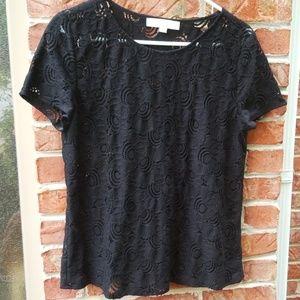 Loft black lace top. Size medium. Short sleeved.
